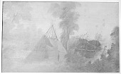 view Sketch by Paul Kane Showing Tipi and Wigwam n.d digital asset number 1