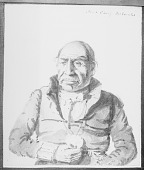 view Sketch by Paul Kane of Portrait (Front) of Maydoc-Game-Kinungee (I Hear the Noise Of The Deer), with Peace Medal digital asset number 1