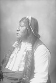 view Portrait (Profile) of Sentele, Also Called Grant Richards, in Partial Native Dress with Breastplate, Feather Hair Charm and Ornaments 1898 digital asset number 1