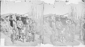 view Group of Eight Near Earth Lodge, One in Civil War Uniform, All Others in Native Dress; Two with Peace Medals, One with Ornaments 1871 digital asset number 1