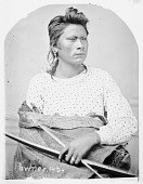 view Portrait (Profile) of Loo-Kit-Towy-His-Sa (On A Fine Horse) in Partial Native Dress and Holding Bow and Arrow 1868 digital asset number 1
