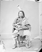 view Portrait (Front) of Cu-Roox-Ta-Ri-Ha (Good Bear) in Native Dress JUN 1867 digital asset number 1