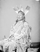 view Portrait (Profile) of Ku-Nugh-Na-Give-Nuk (Rushing Bear) or (Son Of The Star) in Native Dress with Headdress and Holding Pipe 1874 digital asset number 1