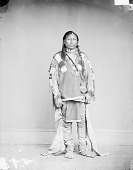 view Portrait (Front) of Pe-Ah (Black Tailed Deer) in Native Dress with Ornaments and Holding Bag 1868 digital asset number 1