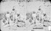 view Four Girls and Two Boys Looking at Necklace, All in Native Dress, Two with Headdresses, One with Face Paint 1873 digital asset number 1