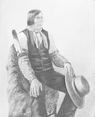 view Charcoal Drawing of Wovoka (The Cutter) or Kwohitsaug (Big Rumbling Belly), Called Jack Wilson 1891 digital asset number 1