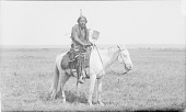 view Man in Native Dress with Ornaments and Holding Fan, On Horseback 1891 digital asset number 1
