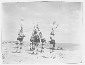 view Five Pai-A-Kya-Muh or Clowns, One of the Priesthood Fraternities, All in Native Dress, On Mesa Top n.d digital asset number 1
