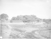 view View of North Pueblo From the Southeast Showing Kivas, Beehive Ovens, Earth Ovens and Wagon 1899 digital asset number 1