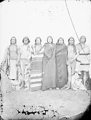 view Group of Five Men in Native Dress, Two with Body Paint, Near Beehive Oven 1871 digital asset number 1