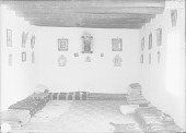 view Interior of Simon's Adobe House Showing Blankets and Wood Beams 1899 digital asset number 1