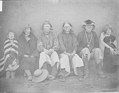 view Group of Six Albinos Near Adobe Wall, All in Partial Native Dress, One with Necklace 1886 digital asset number 1