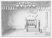 view Painting of Ceremony, Cimex Fraternity, Altar of Pe-Sha-Silo- Kwe Made of Feathers, Wood, Clay Pots, and Idols? 1893 digital asset number 1