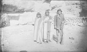 view Group of Three Men Near Cliff, Two in Blankets, One Holding Rifle 1885 digital asset number 1