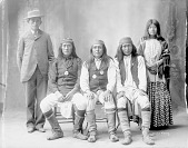 view Left to right: James Stevens, interpreter, Forgetting, Chief Josh Jingling, Long, Net The Waites 1898 digital asset number 1