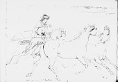 view Drawing by R. F. Kurz of Man in Native Dress Wtih Quiver and Bag On Horseback and Herding Two Horses 08 JUL 1851 digital asset number 1