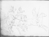 view Drawing by R. F. Kurz of Three Men in Native Dress, All On Horseback, One Holding Rifle, Two with Rifles 23 JUL 1851 digital asset number 1