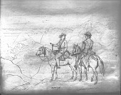 view Drawing by R. F. Kurz of Two Men, Both On Horseback, Overlooking Valley, Both Holding Rifles and Both with Powder Horns 1851 digital asset number 1