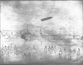 view Drawing by R. F. Kurz of Fort Pierre; Tipis Standing Next To Fort; Groups of People in Native Dress Nearby 04 JUL 1851 digital asset number 1