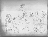 view Drawing by R. F. Kurz of Man On Horseback, Two Women and Three Men Watching, All in Native Dress, Two with Ornaments 1851 digital asset number 1