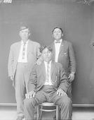 view [Robert Dunlop, Stanley Edge (sitting), and Burgess Hunt] 1913 digital asset number 1