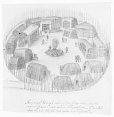 view Drawing by John White, 1585, of Pomeioc Village, NC, Made of Birchbark Lodges; Frame of Houses Also Shown; Large Bonfire in Center of Lodges Surrounded by People n.d digital asset number 1