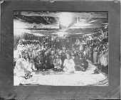 view Chief Smohalla, Called The Prophet of Columbia River, with His Priests Inside Wood Lodge, All in Partial Native Dress 1884 digital asset number 1