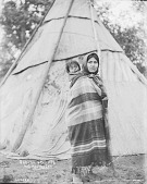 view Sabina Carrying Child in Blanket On Her Back, Tipi Nearby 1900 digital asset number 1