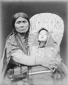 view Portrait of Mrs Ume-Som-Kin in Partial Native Dress and Holding Child in Decorated Cradleboard 1900 digital asset number 1