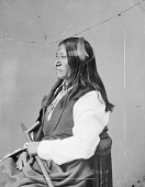 view Portrait (Profile) of Chief Sinte-Galeshka or Cin-Te-Gi-Le-Ska or Tshin-Tah-Ge-Las-Kah (Spotted Tail) in Partial Native Dress and Holding Pipe 1872 digital asset number 1