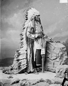 view Portrait (Profile) of Taopi Cikala (Little Wound) in Native Dress with Headdress and Holding Pipe and Bag 1877 digital asset number 1