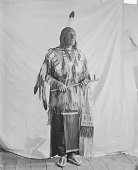 view Portrait (Profile) of Chief Taopi Cikala (Little Wound) in Native Dress with Peace Medal and Holding Pipe and Bag MAR 1896 digital asset number 1