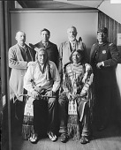 view [Delegation, left to right, sitting: Little Wound (wearing U.S. Grant peace medal issued 1871), Kicking Bear; standing: Phillip F. Wells (interpreter), George Fire Thunder, James A. George (attorney), Captain Thunder Bear] 1896 digital asset number 1