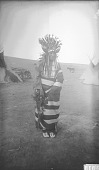 view Woman in Dance Costume with Horn and Feather Headdress, Hair Pipe Bead Collar, and Blanket 1892 digital asset number 1