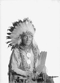 view Portrait (Front) of Chief Hogan-Luta (Red Fish) in Native Dress with Headdress and Two Peace Medals and Holding Fan and Pipe 1912 digital asset number 1