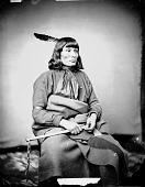 view Portrait (Profile) of He-Ha-Ka-A-Na-Zin or Hekhaka Nazhin or He-Ka-Ka-Nang-Zhe (Standing Elk) or A-Haw-Ka-Nuch or A-Ha-Ka-Nun-Cha in Partial Native Dress and Holding Tomahawk 1858 digital asset number 1