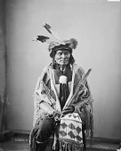 view Portrait of Ta-Tan-Ka-Han-Ska (Long Fox or Long Buffalo Bull) wearing skunk hat and holding pipe and beaded and quilled bag digital asset: Portrait of Ta-Tan-Ka-Han-Ska (Long Fox or Long Buffalo Bull) wearing skunk hat and holding pipe and beaded and quilled bag