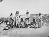 view Fox Tail, Fox Tail's Wife, Yellow Bull, Yellow Top, Bull That Goes Hunting, Yellow Coat, and Woman Who Walks on Ice at Fort Laramie 1868 digital asset number 1