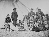 view Dakota Indians and interpreters with dogs at Fort Laramie digital asset: Dakota Indians and interpreters with dogs at Fort Laramie