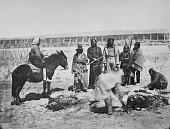 view Six Dakota Indians, one on horseback, watching two men butcher cow digital asset: Six Dakota Indians, one on horseback, watching two men butcher cow