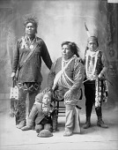 view Portrait (Front) of Group of Men and Boy (L-R): William Hensley, Edward Bearskin, Peter Logan, and William Logan; All But William Logan in Partial Native Dress and with Ornaments 1898 digital asset number 1