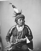 view Portrait of Muncha-Huncha (Big Bear, also Called Joseph Powell), Chief of Bear Band holding pipe-tomahawk, undated digital asset number 1