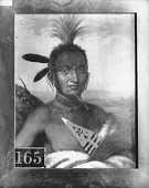 view Painting by C. B. King in 1824 of Portrait (Front) of Moanahonga (Great Walker) or Winaugusconey (Man Not Afraid To Travel), Called Big Neck, in Native Dress with Ornaments and Holding War Club n.d digital asset number 1