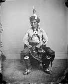 view Portrait of Mah-Hee (Knife), Third Chief of Iowas, with Peace Medal 1869 digital asset number 1