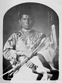 view Portrait (Front) of Mah-Hee (Knife), Third Chief of Iowas, holding bow and arrows original 1848, copied 1869 digital asset number 1