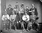 view Portrait of Pa-Hatch (Big Brave) or Elisha Poreau, Ki-He-Ka-In-Ga (Little Chief), Kra-Ten-Ta-Way (Black Hawk), Ma-Hee (Knife), To-Hu (Bear); Na-Ga-Wash (British), Tar-A-Ku (Deer Ham), and three men (possibly interpreters) 1869 digital asset number 1