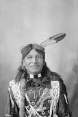 view Portrait (Front) of On-Pon-Non-Zhin (Standing Elk) in Partial Native Dress with Hairpipe Choker, Hairpipe Necklace, and Fur- Wrapped Braid 1898 digital asset number 1