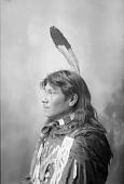 view Portrait (Profile) of On-Pon-Non-Zhin (Standing Elk) in Partial Native Dress with Hairpipe Choker, Hairpipe Necklace, and Fur- Wrapped Braid 1898 digital asset number 1