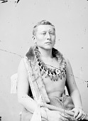 view Portrait (Front) of Chief Shon-Ton-Ca-Be (Black Dog) or (Dog Black) in Partial Native Dress with Bear Claw Necklace 1876 digital asset number 1
