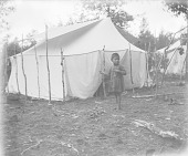 view [Winnebago Indian child outside of wigwam] 1900-1907 digital asset number 1
